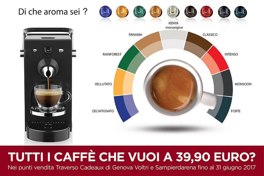 promozione sconto offerta lui l'espresso chic macchina caffè genova traverso cadeaux